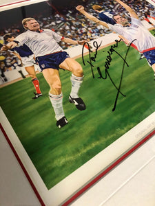 STEVE BULL PAUL GASCOIGNE SIGNED FRAMED LIMITED EDITION ENGLAND ART PRINT 12/100