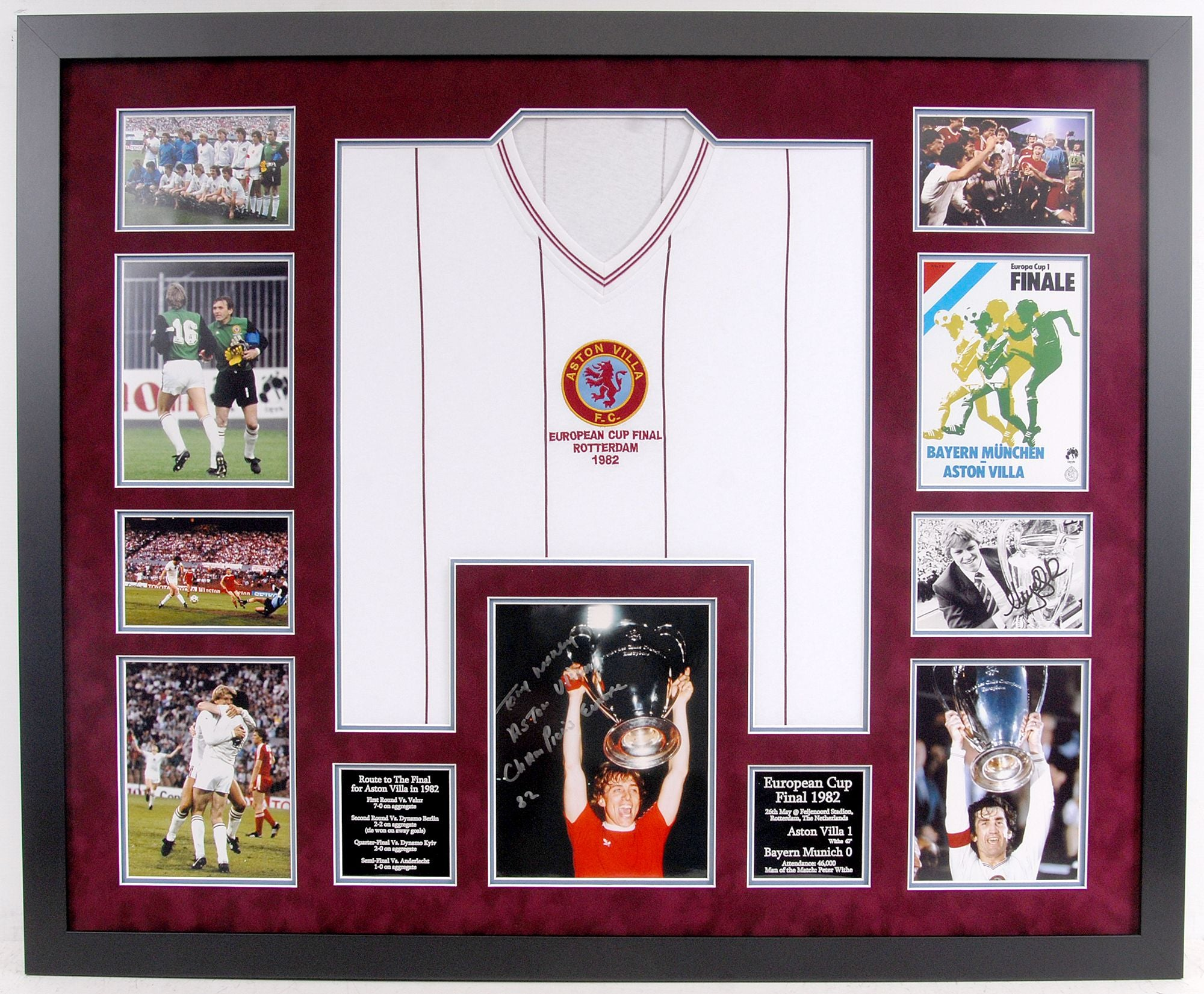 Aston Villa 1982 European Cup Frame - Signed by legends Tony Morley and Nigel Spink