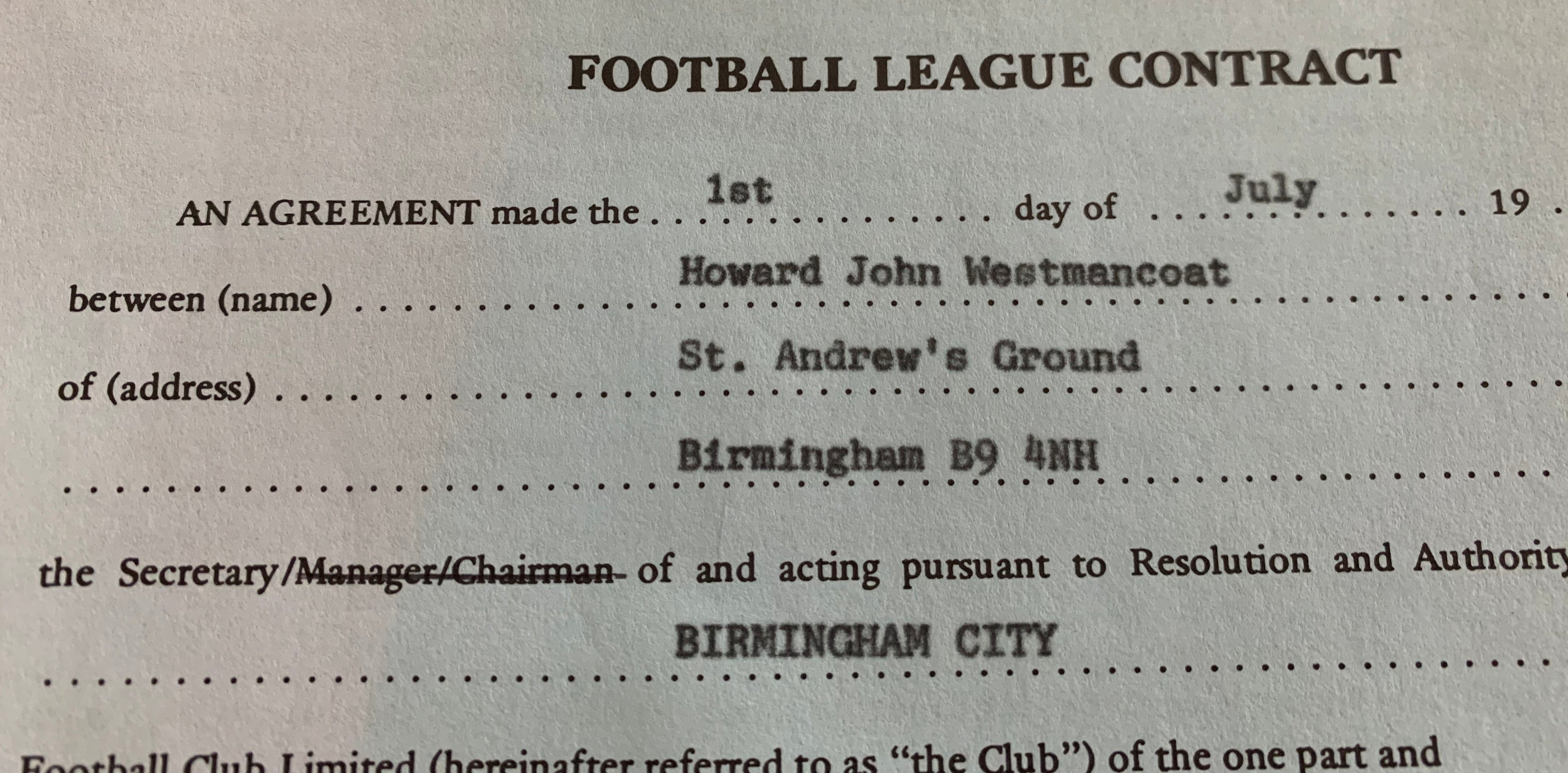 Football League Contract & Birmingham City FC Schedule of Playing Incentives - Des Bremner