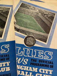 Birmingham City Programmes Home and Away - Season 1958-1959