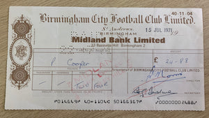 Signed / Autographed Birmingham City Player (Paul Cooper) Cheque - Paul Cooper