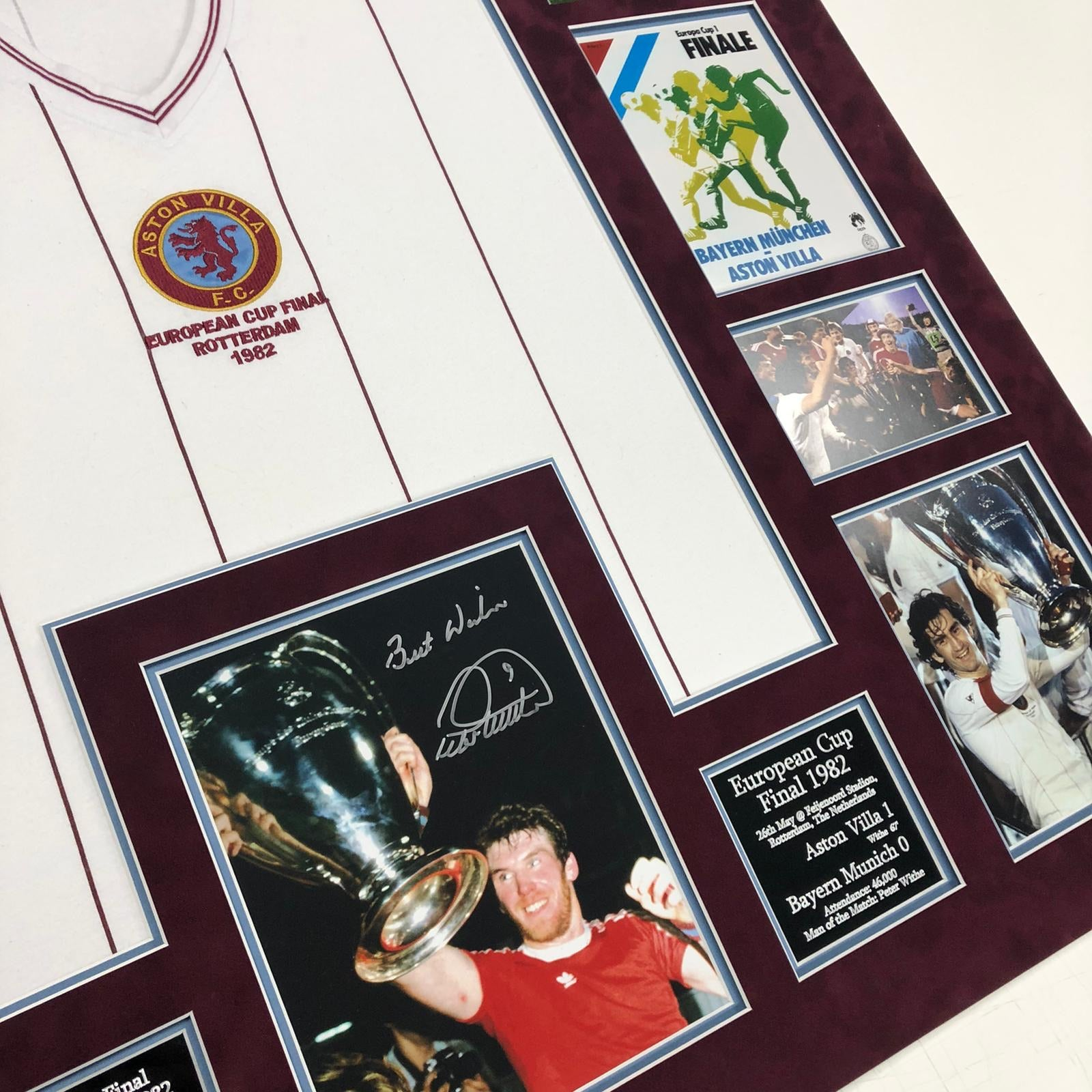 Aston Villa 1982 European Cup Frame - Signed by Peter Withe and Nigel Spink