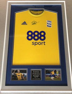 Kristian Pedersen Signed and Silver Framed Birmingham City Away Shirt, with COA