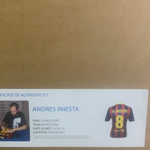 Andres Iniesta Signed and Framed Barcelona shirt - Superb