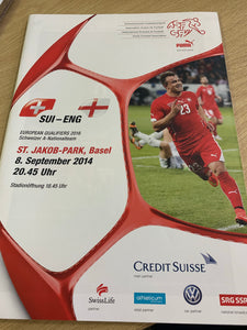 Switzerland v England 08/09/14 Programme and Official Schedule