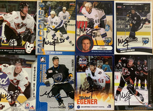 Mike Egener Signed Trade Card Set x 8