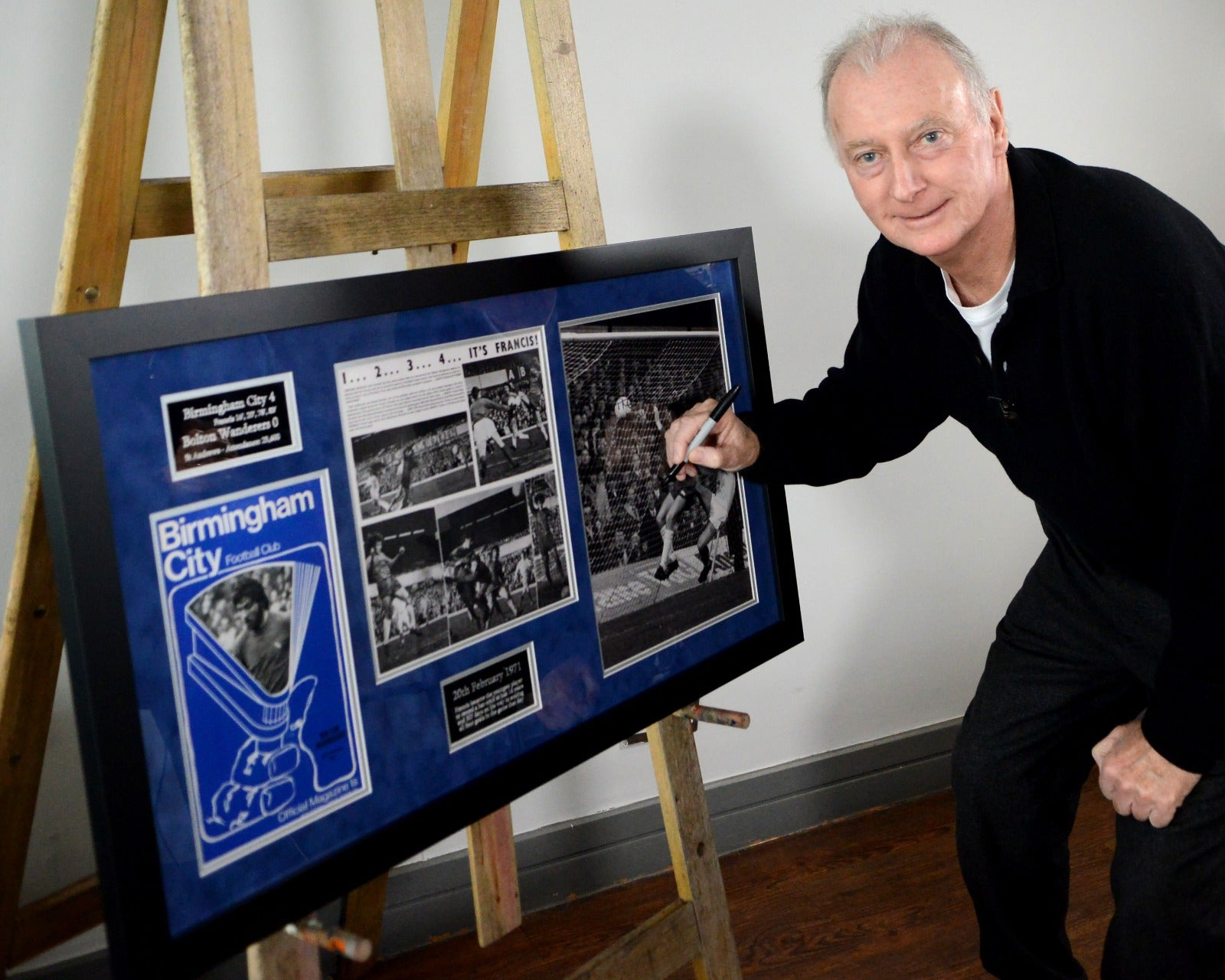 Trevor Francis 50 years celebration signed frame - 4 goals as a 16 year old! Free UK Delivery!