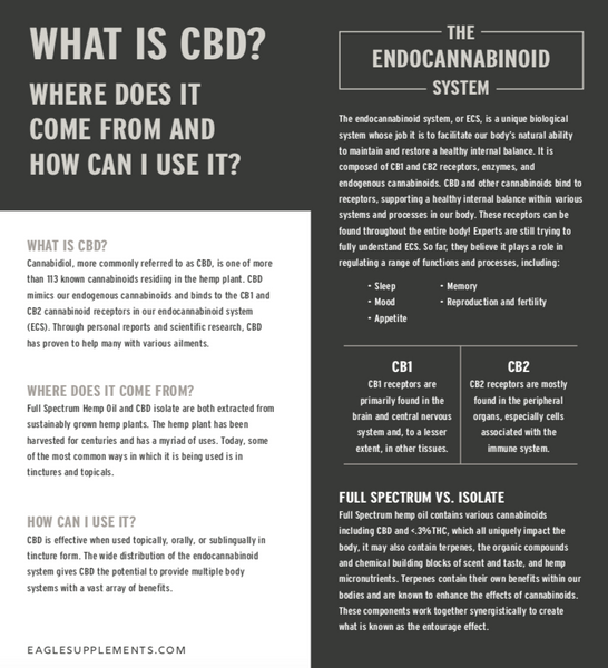 What is CBD? Eagle CBD explanation on CB1 and CB2 receptors and the endocannabinoid system.
