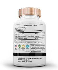 Eagle Supplements Organic Turmeric with Piperine