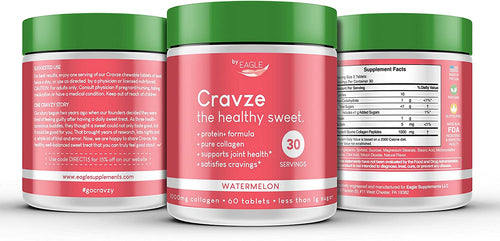 Cravze - Collagen Chewable Tablets with Protein - Watermelon Flavor (Value Pack & Save) - Eagle_Supplements