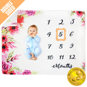 Baby Monthly Milestone Blanket - Red Floral