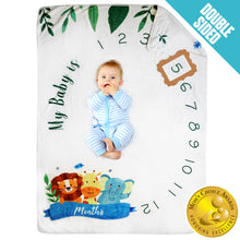 Load image into Gallery viewer, Baby Monthly Milestone Blanket - Jungle Theme