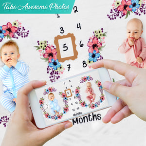 Baby Monthly Milestone Blanket - Twins