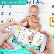 Load image into Gallery viewer, Baby Monthly Milestone Blanket - Ocean Theme