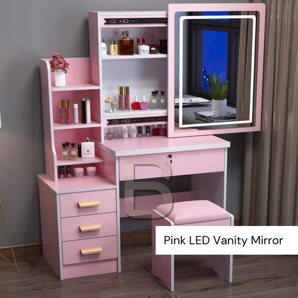Bedroom Vanity Sliding LED Mirror Table