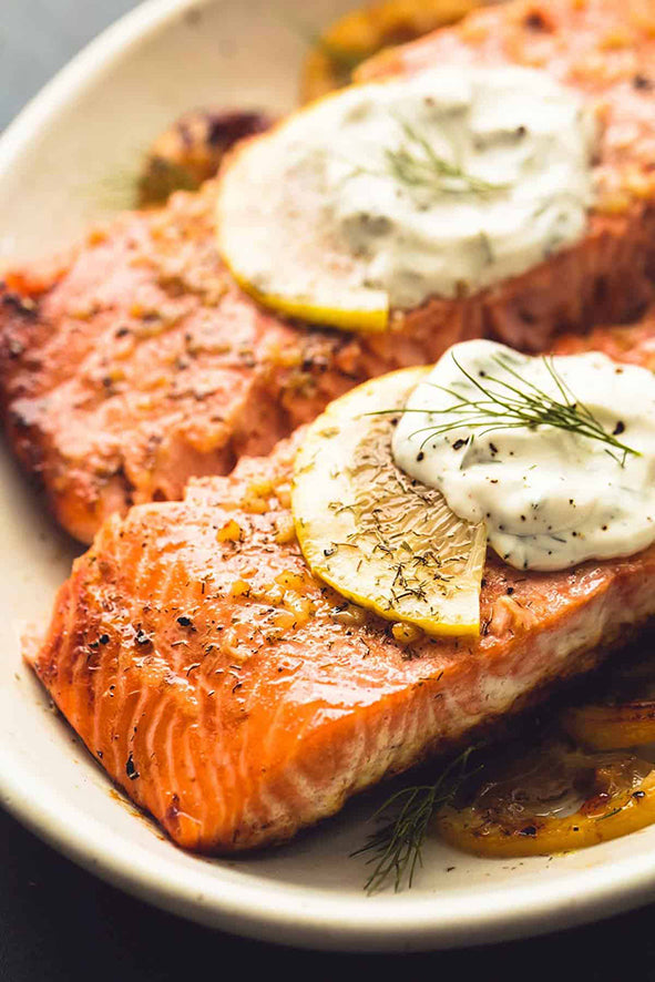 Salmon fillet with homemade mayonnaise