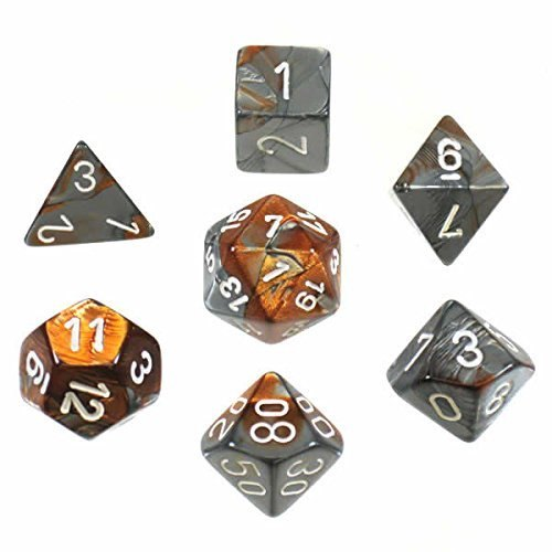 Copper-Steel w/white Gemini Polyhedral 7 Dice Set - CHX26424 | Gators Games and Hobby