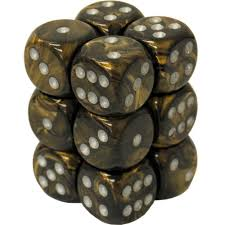 12 Black Gold w/silver Leaf 16mm D6 Dice Block - CHX27618 | Gators Games and Hobby