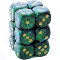 12 Jade w/gold Scarab 16mm D6 Dice Block - CHX27615 | Gators Games and Hobby