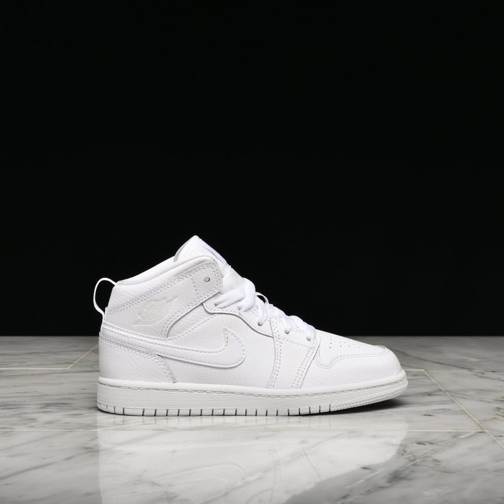 Load image into Gallery viewer, Air Jordan 1 Mid 'Triple White' (PS)
