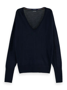 100% Merino wool long sleeve V-neck sweater
