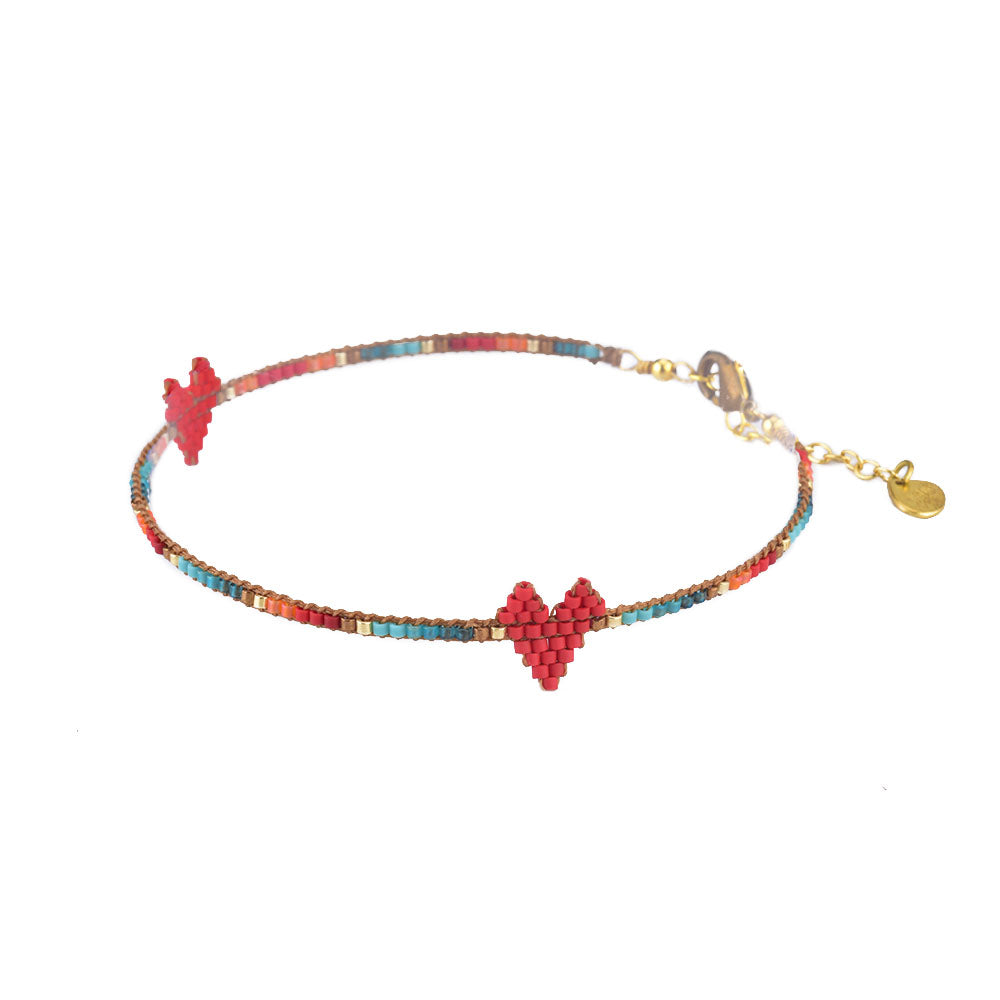 Red Rainbow Heart Beaded Anklet