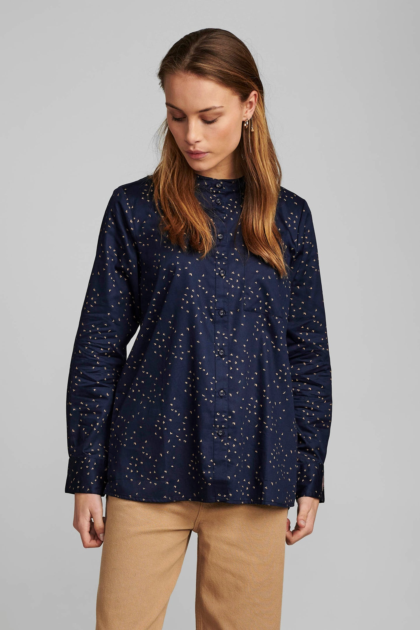 Navy Swallow Cotton Shirt