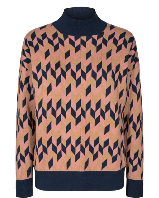 Ash Rose Geometric Diamond Sweater