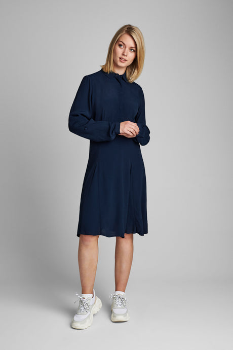 Navy Fitted A-line Dress