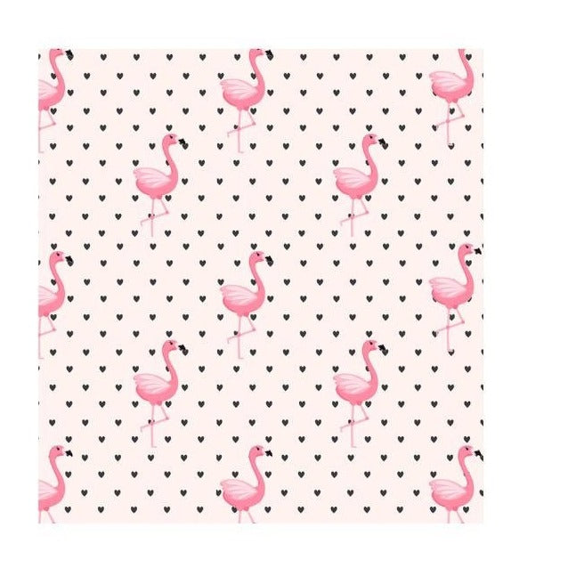 Flamingo pale pink with Black Hearts