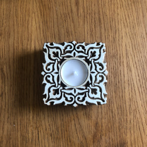 Square block tea light holder