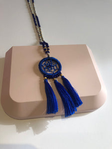 Navy Beaded Wind catcher Necklace