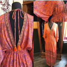 Load image into Gallery viewer, Indian Silk Kaftan Dresses - Orange & Pink