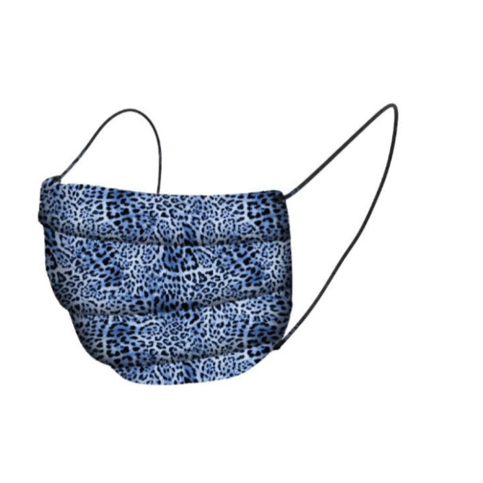Organic Cotton Face Mask Covering - Blue Leopard