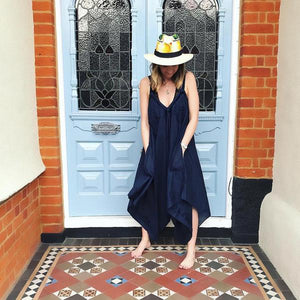 Navy Hand Embroidered Jumpsuit