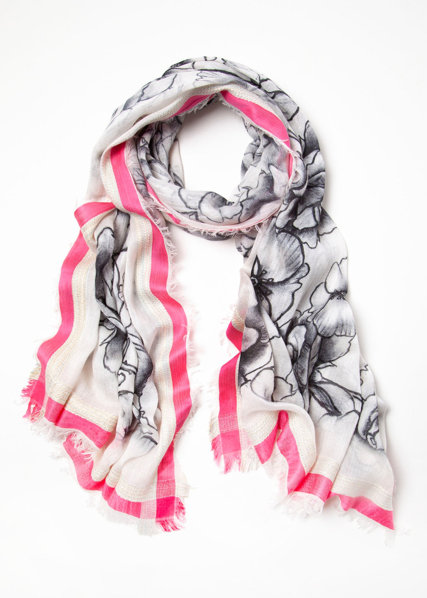 Black & White Rose Scarf