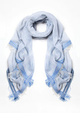 Load image into Gallery viewer, Blue Cotton Fringe Scarf