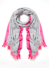 Load image into Gallery viewer, 08 Grey & Pink Edge Scarf