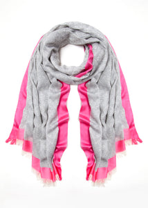 08 Grey & Pink Edge Scarf