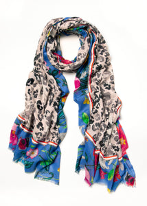 012 Leopard Print Floral Scarf