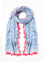 Load image into Gallery viewer, Blue with Pink Fringe Scarf