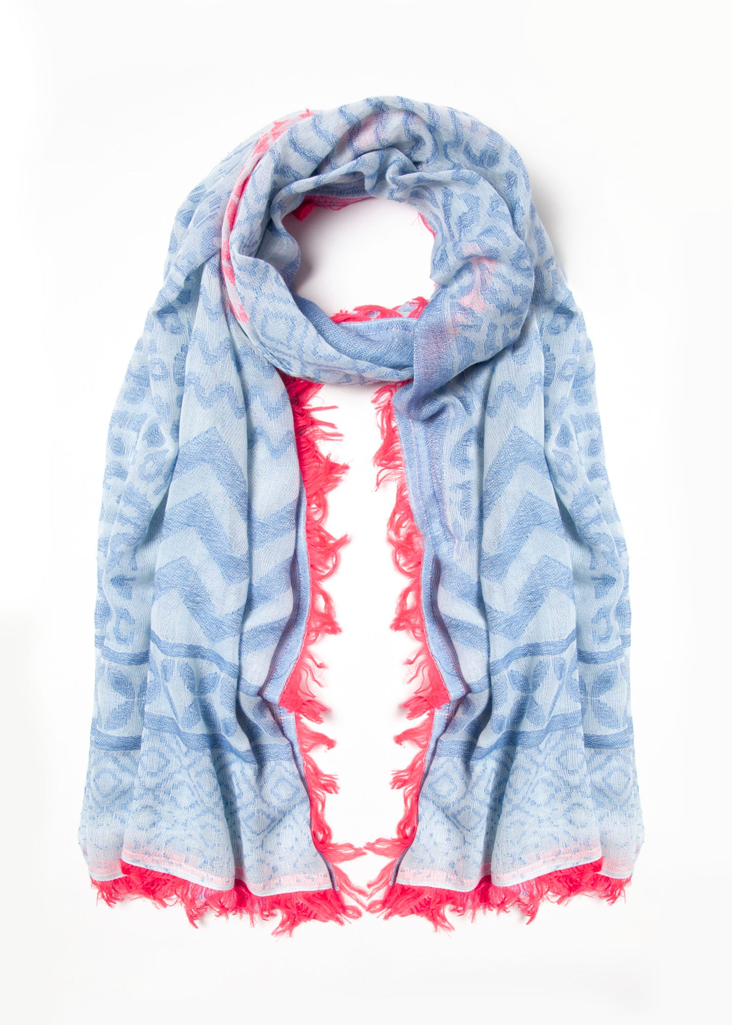 Blue with Pink Fringe Scarf