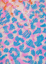 Load image into Gallery viewer, Square Blue & Pink Leopard Tassel Scarf