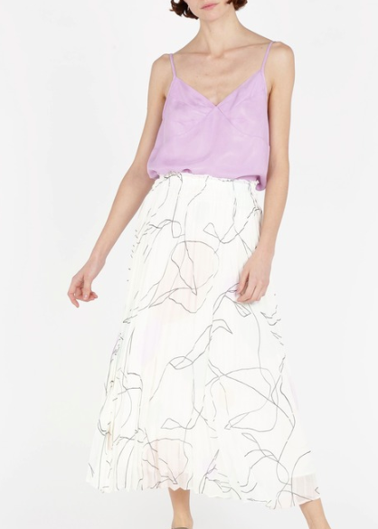 FONDA - White Printed pleated midi skirt