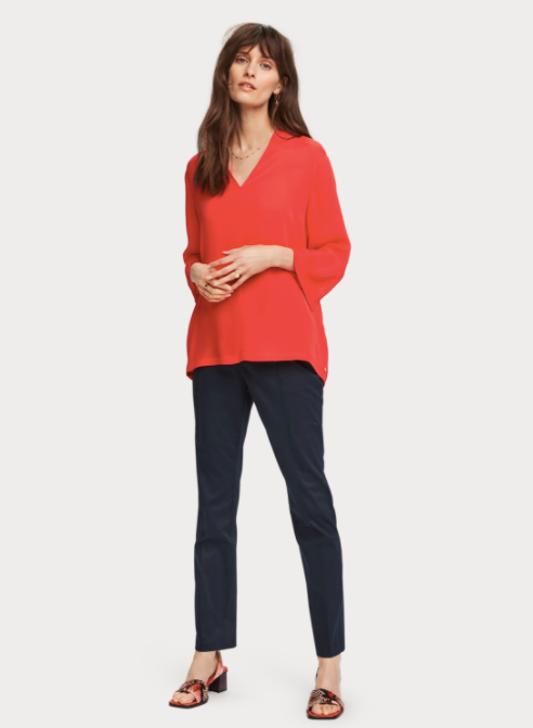 Flame Red Viscose top with v-neck