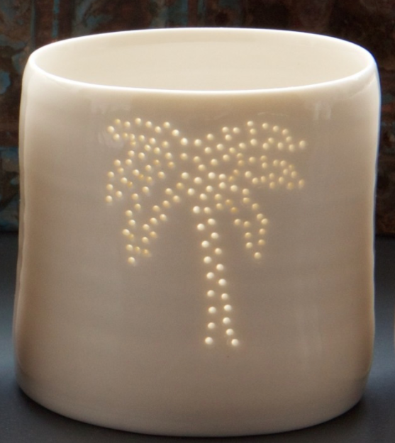 Porcelain Palm Tree mini tealight holder