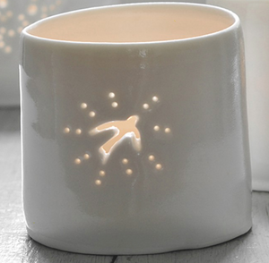 Porcelain Swallow mini tealight holder