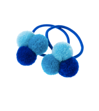 mini trio of blue pom poms
