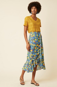 Sorrento Lemon Wrap Frill Skirt