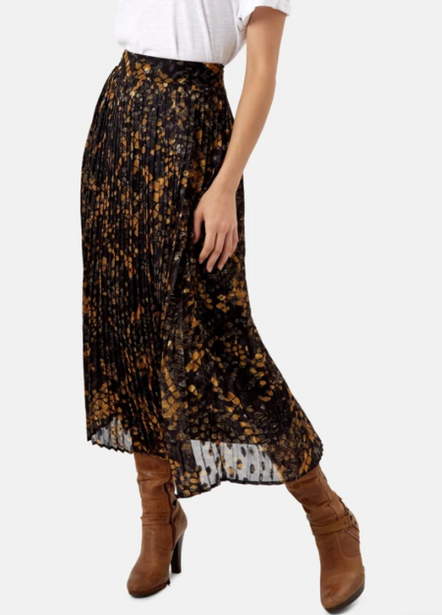 Pleated Falls Skirt in Black & Mustard